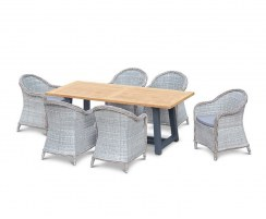 Teak Rectangular Trestle Table 2m and 6 Eaton Rattan Armchairs