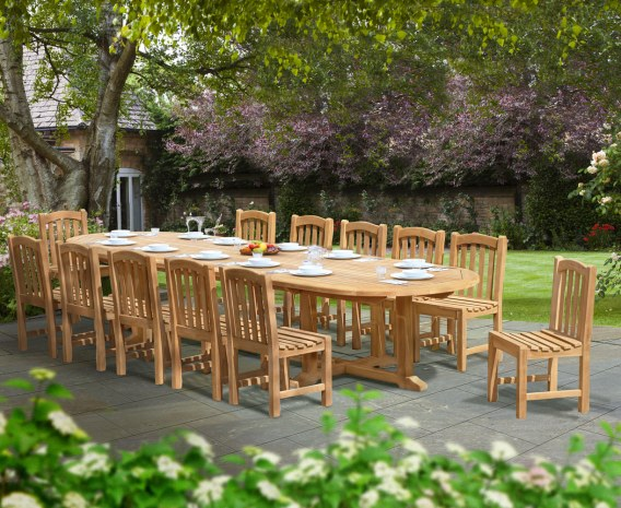 Large Teak Dining Set with Hilgrove Oval 4m Table & 12 Side Chairs