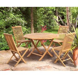 Suffolk Folding Octagonal Table 1.2m with 4 Ashdown Dining Chairs