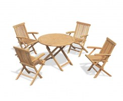 Suffolk 4 Seater Teak Folding Garden Set with Low-Back Armchairs