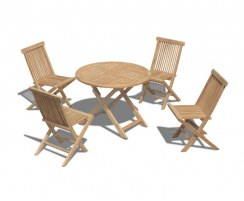 Suffolk 4 Seater Teak Folding Dining Set with Round Table 1m and Chester Low Back Side Chairs