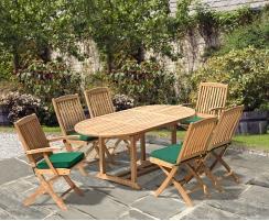 Brompton Bijou Extending 1.2 - 1.8m Table + 2 Bali Folding Armchairs & 4 Bali Folding Chairs