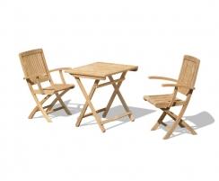 Rimini Teak Folding Dining Set with Square 0.7m Table & 2 Armchairs