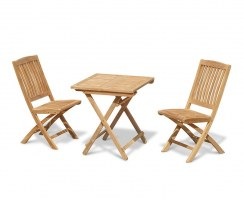 Rimini 2 Seater Teak Folding Set with Square Table and Side Chairs