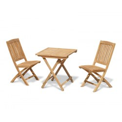 Rimini 2 Seater Teak Folding Dining Set with Square Table 0.7m and Bali Side Chairs