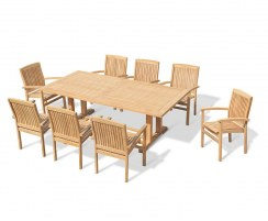 Cadogan 8 Seater Teak Pedestal Table 2.25m & Bali Stacking Chairs