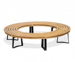 Teak Circular Tree Seat, Round Tree Bench, Backless, Metal Legs