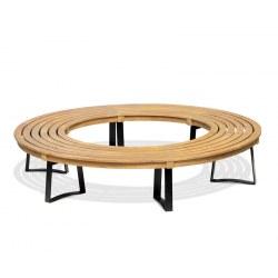 Teak Circular Tree Seat, Round Tree Bench, Backless, Metal Legs