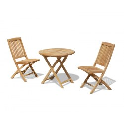 Suffolk Teak Round Folding Table 0.8m and 2 Bali Side Chairs Set