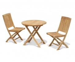 Suffolk Teak Round Folding Table 0.8m and 2 Rimini Side Chairs Set