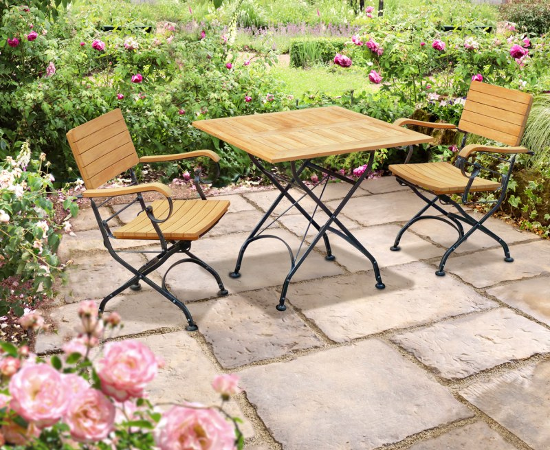 Bistro Square 0.8m Table with 2 Armchairs, Black