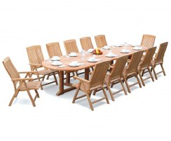 12 Seater Garden Set with Hilgrove Oval 4m Table & Bali Recliner Chairs