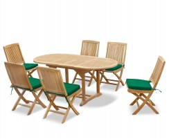 Brompton Bijou Extending Table 1.2 - 1.8m & 6 Rimini Folding Side Chairs