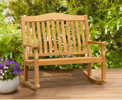 Rose Garden Teak Rocking Bench – 1.2m, 2 Seater