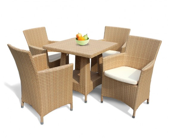 4 Seater All Weather Wicker Dining Set W Square Table Armchairs