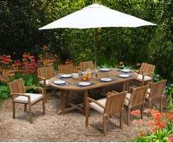 Hilgrove Oval 2.6m Table & 8 Monaco Stacking Chairs Set