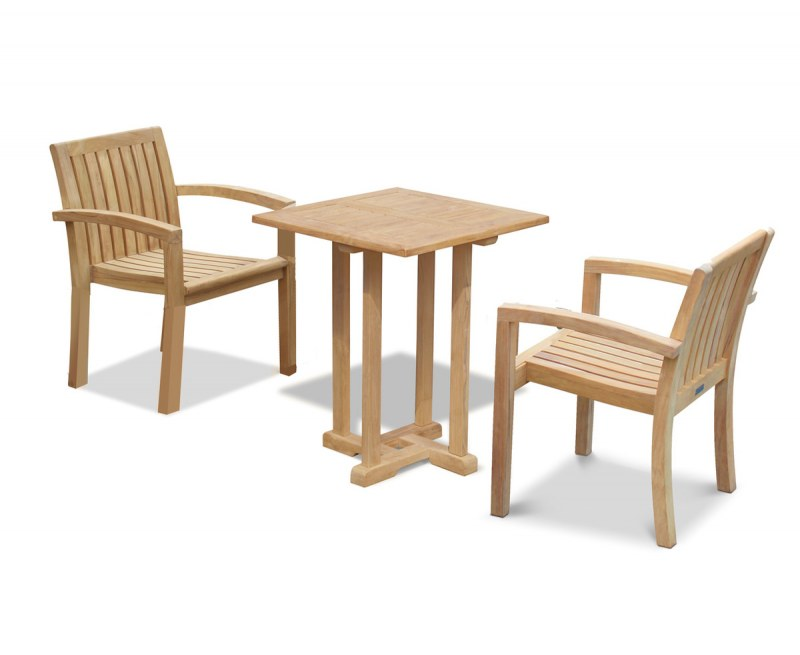 Canfield Square 0.6m Table with 2 Monaco Stacking Chairs Set