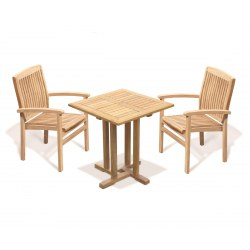 Canfield Square 0.7m Table with 2 Bali Stacking Chairs Set