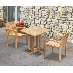 Canfield Square 0.7m Table with 2 Monaco Stacking Chairs Set