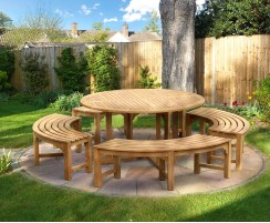 Canfield Teak Garden Table 1.5m and Backless Dining Benches Set