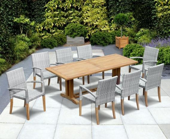 Cadogan Rectangular Table 2.25m & 8 St. Tropez Rattan Stacking Chairs