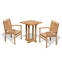 Canfield Square 0.6m Table with 2 Bali Stacking Chairs Set