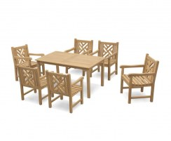 Sandringham 6 Seater Rectangular Dining Table 1.5m & Princeton Armchairs