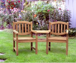 Ascot Teak Companion Seat, Jack and Jill Seat