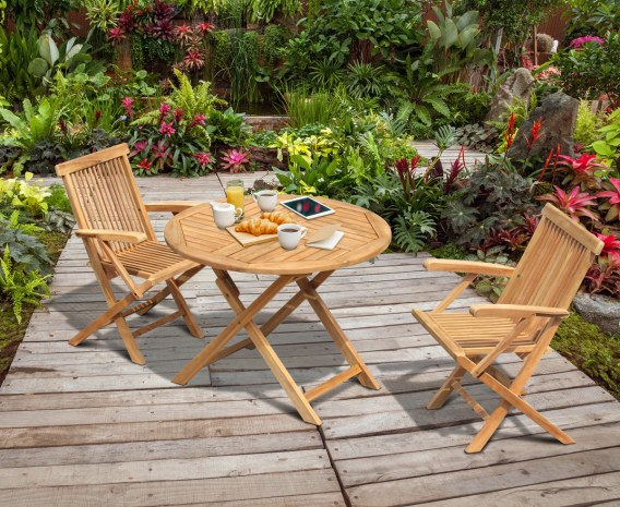 Chester 2 Seater Teak Folding Dining Set with Low Back Armchairs