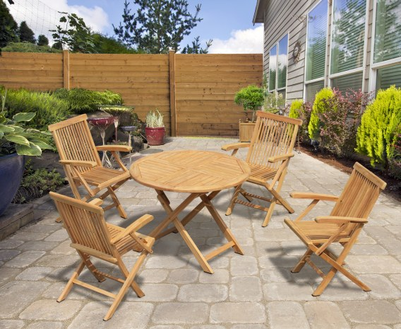 Chester 4 Seater Teak Folding Garden Set with Low Back Armchairs