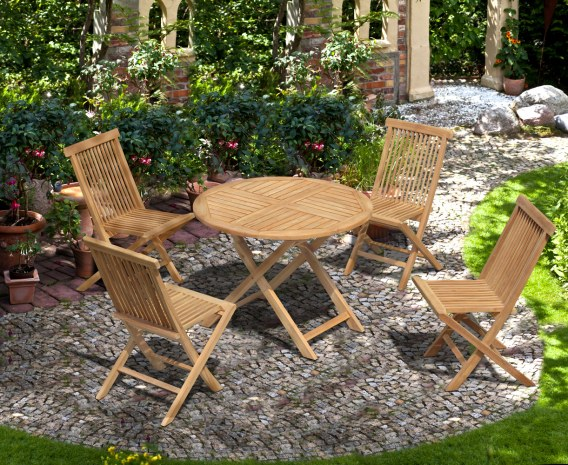 Chester 4 Seater Teak Outdoor Folding Set with Low Back Side Chairs