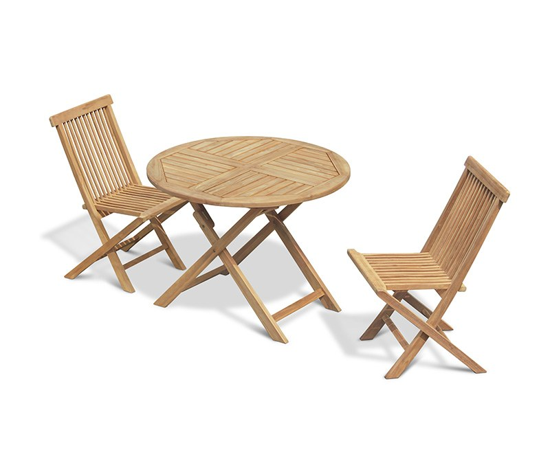 Chester 2 Seater Teak Folding Dining Set with Low Back Side Chairs
