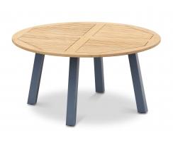 Disk Round Teak Garden Table with Aluminium Legs - 1.5m