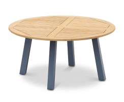Disk Round Teak Garden Table with Steel Legs - 1.5m