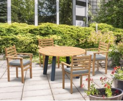 Disk Teak and Steel Round Table 1.3m & 4 Yale Stacking Chairs