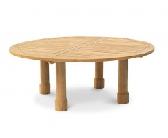 Titan Solid Teak Garden Table, Round Leg - 2m
