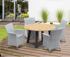 Disk Teak and Steel Round Table 1.3m & 4 Riviera Armchairs