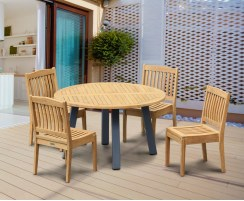 Disk Teak and Steel Round Table 1.3m & 4 Hilgrove Stacking Chairs