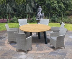 Disk Teak and Aluminium Round Table 1.5m & 6 Riviera Armchairs