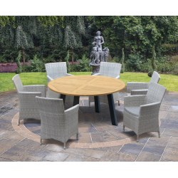 Disk Teak and Steel Round Table 1.5m & 6 Riviera Armchairs