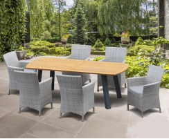 Disk Teak and Steel Oval Table 2.2m & 6 Riviera Armchairs