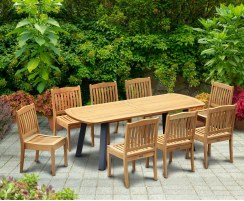 Disk Teak and Steel Oval Table 2.2m & 8 Hilgrove Armchairs