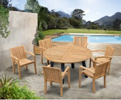 Disk Teak and Steel Round Table 1.5m & 6 Monaco Stacking Chairs