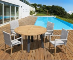 Disk Teak and Steel Round Table 1.3m & 4 St. Tropez Stacking Chairs