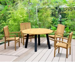 Disk Teak and Steel Round Table 1.3m & 4 Bali Stacking Chairs