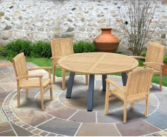 Disk Teak and Steel Round Table 1.5m & 4 Bali Stacking Chairs