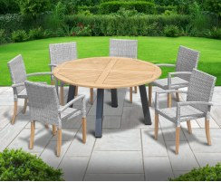 Disk Teak and Steel Round Table 1.5m & 6 St. Tropez Stacking Chairs