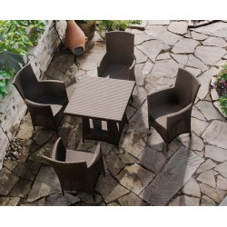 Riviera Rattan Patio Dining Set with Square 0.8m Table & 4 Armchairs