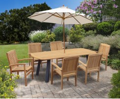 Disk Teak and Steel Oval Table 2.2m & 6 Bali Stacking Armchairs