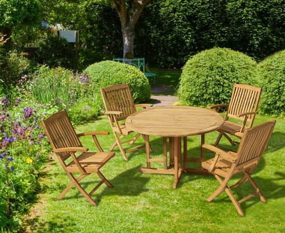 Berrington Round Gateleg 1.2m Table & 4 Bali Armchairs